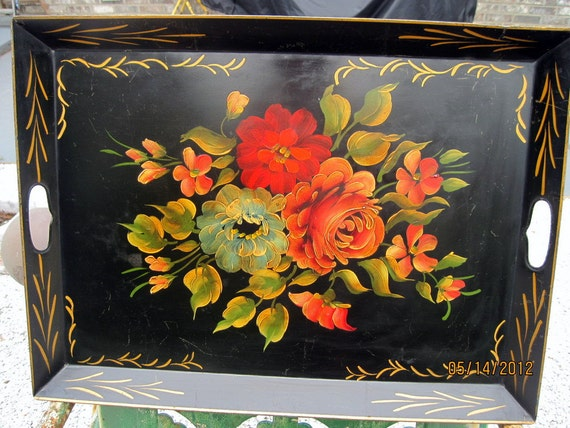 Vintage Tole Tray Toleware Handpainted Flowers Large Metal Tray