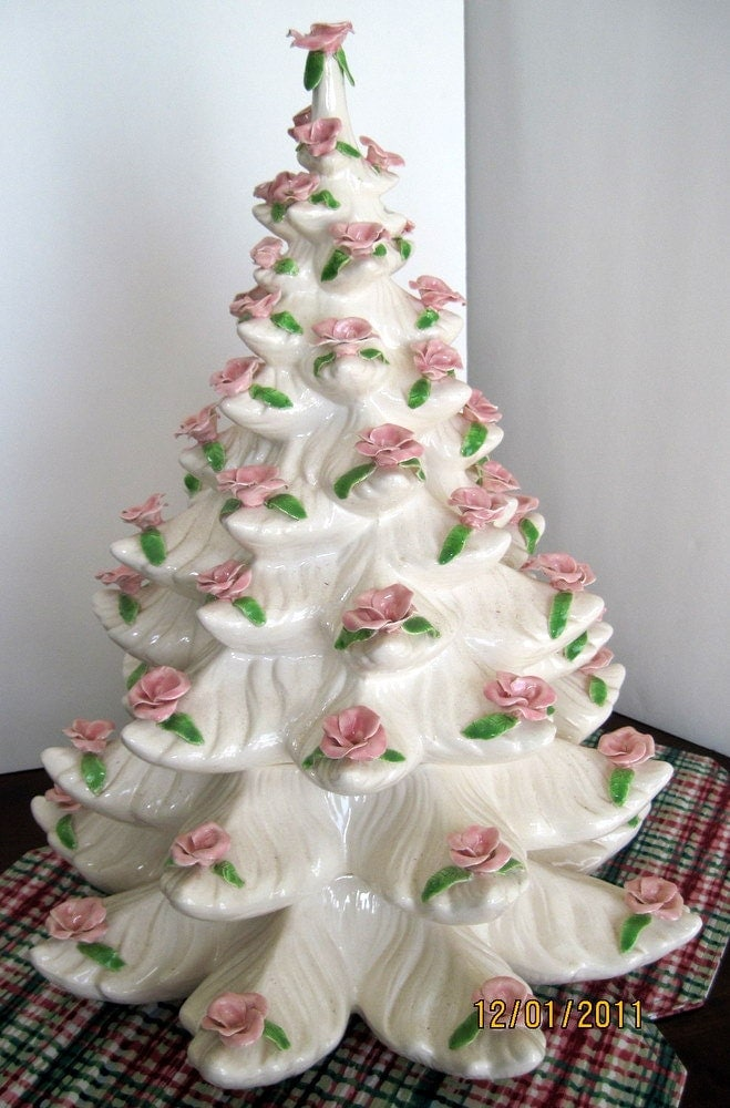 Large vintage white christmas tree pink roses shabby chic sale