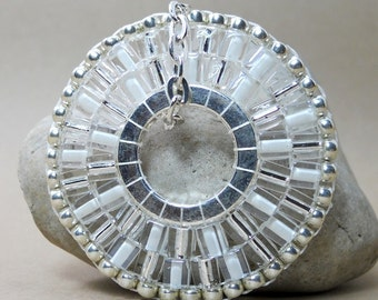 Silver and White Sundial Necklace
