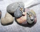 River Rock Earrings with Dangling Cloudy Bead