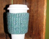 Teal Felted Coffee Tumbler Cozy