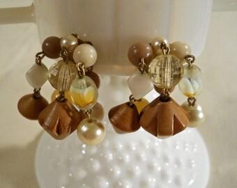 Beaded Waterfall Clip On Earrings