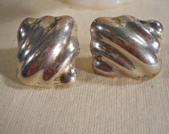 Mexico Sterling Silver Modern Pierced Earrings