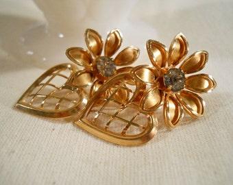 B.N. Gold Tone and Aquamarine Floral Screw Back Earrings