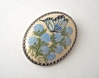 Sterling Silver Hand Painted Cornflower Butterfly Brooch.