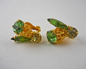 Mixed Green Clip on Earrings.