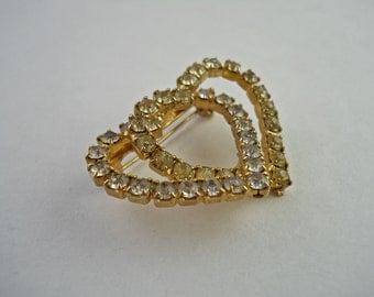 Rhinestone Double Heart Brooch.