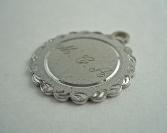 Sterling Silver Round Charm Initials M.C.A  La Mode.