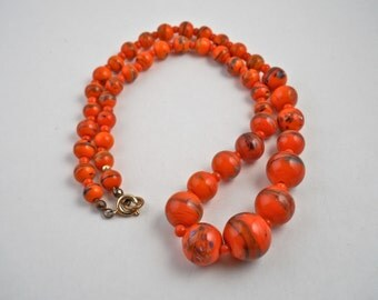 "Orange Swirl Millefiore Glass Bead Necklace 19"" Long."