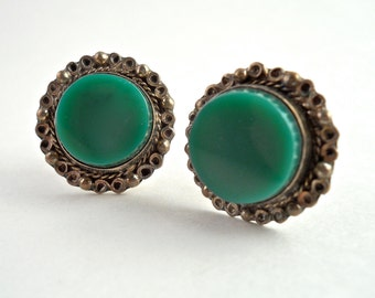 Sterling Silver Green Stone Screw Back Earrings Mexico.