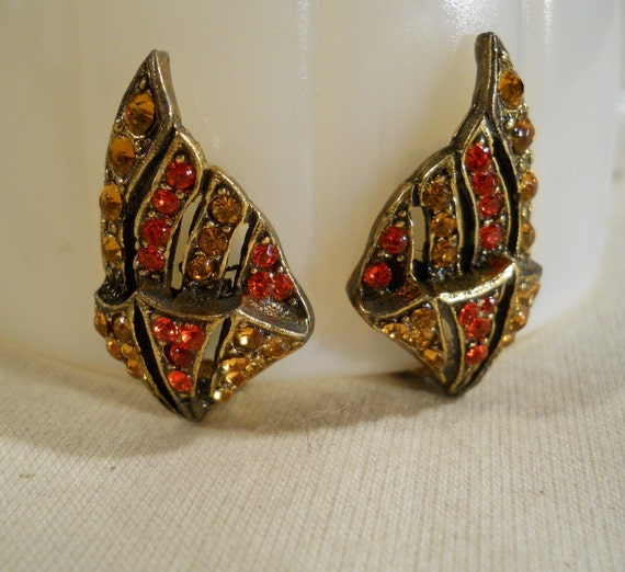 Citrus Rhinestone Clip On Earrings