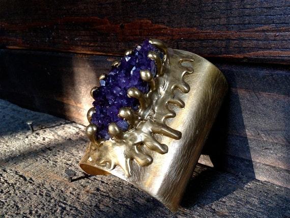 ON SALE  Amethyst Cuff Bracelet