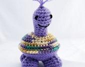 Pip the Purple Turtle Amigurumi Stuffed Toy Ready to Ship