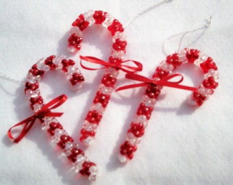 Red Striped Crystal Candy Canes for your Christmas Tree