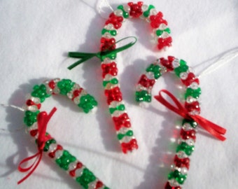 Red and Green Striped Crystal Candy Canes for your Christmas Tree