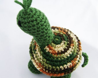 Sarge the Traditional Green Turtle Crocheted Amigurumi Stuffed Toy ready to ship