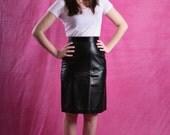 ANN TAYLOR black leather pencil skirt