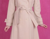 Vintage 60's Mad Men Mod Tan Classic Trench Coat Rain Jacket with Sash Belt Size S/M