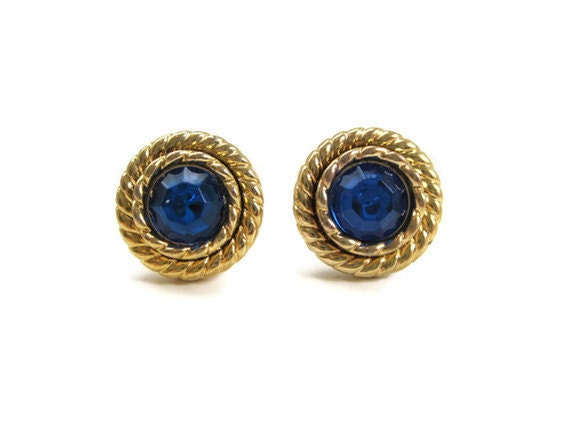 Small Post Button Earrings Plastic Gold Rim Blue Center Upcycled Earrings Jewelry