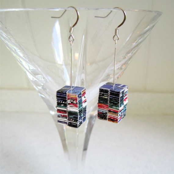 Recycled Paper Origami Earrings Long Rectangle Artsy Dangle Jewelry