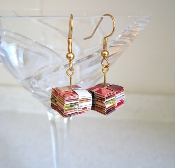 Recycled Paper Earrings Dangling Pink Colored Square Origami Jewelry