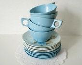 Vintage Melmac Sky Blue Teacups Saucers & Dessert Plates Tea Set - 5 Place Settings - Total 15 Pieces