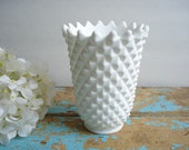 Vintage Imperial Vase Satin Milk Glass - Diamond Pattern
