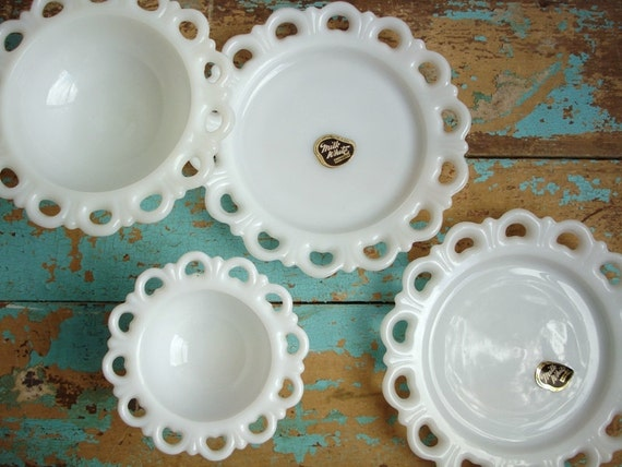 Vintage Lace Milk Glass Set Plates Compotes - Anchor Hocking Lace Edge Old Colony - Labeled NOS