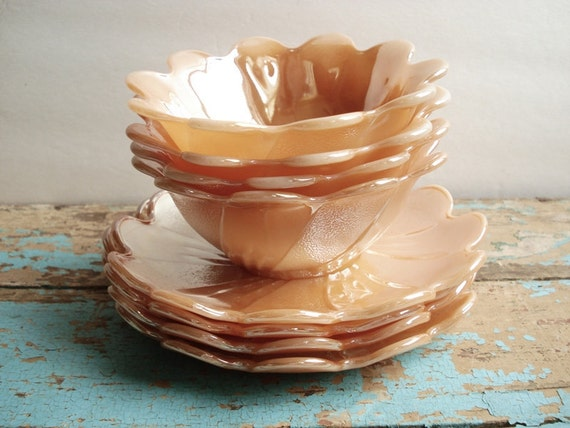Vintage Fire King Peach Lustre Blossom Dessert Sets - Service for 4