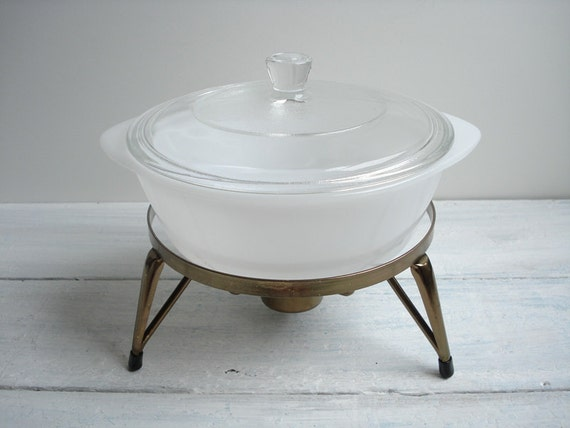 Vintage Atomic White Chafing Dish & Stand, Inland Glass Co, Casserole Dish with Lid