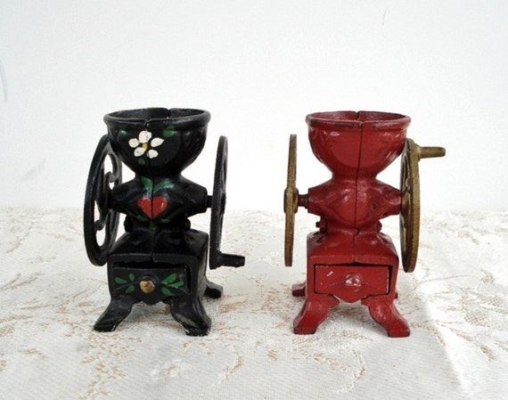 Vintage Red & Black Cast Iron Grinder Mill Set - Miniature - Working Wheels and Drawers - MARKED No. 14, No. 8 - 1940 - Set of 2