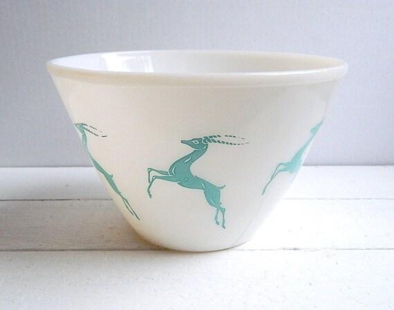 Vintage Fire King Gazelle Bowl, Turquoise on White Glass Mid Century Mixing Bowl, Splash Proof Serving Bowl
