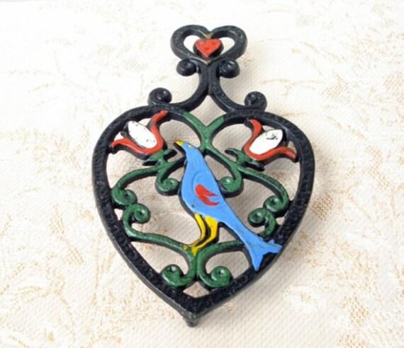 Vintage PA Dutch Friendship Bird Cast Iron Trivet - Heart Shaped - Large - Folk Art - 1930 - Very Colorful