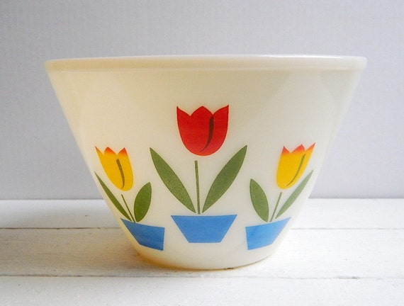 Vintage Large Fire King Tulip Bowl 4 QT