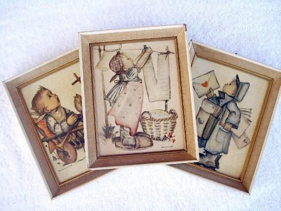 Vintage Framed Hummel Prints Wall Hangings - Germany - Rare Scenes - Folk Art - SIGNED - 1960 - Set of 3