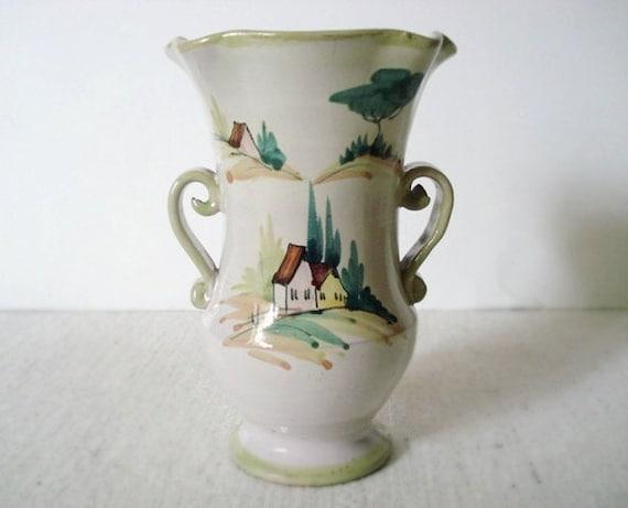 Vintage VANRO ITALY Vase - Hand Painted Glazed Ceramic - 2 Handles - Italian Countryside Cottage Scene - Small - Signed - 1950
