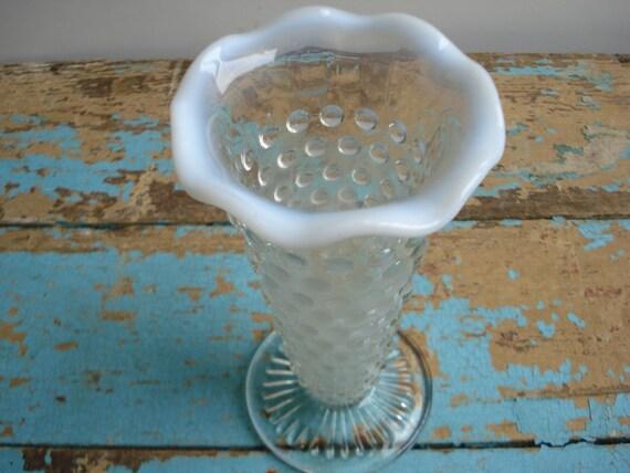 Vintage Moonstone Vase - Opalescent Hobnail - Anchor Hocking