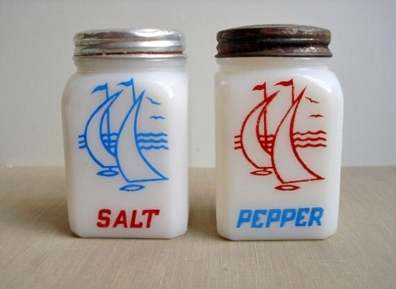 Vintage McKee Sailboat Range Salt & Pepper Shakers