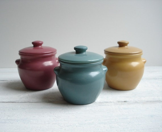 Vintage 3 Dutchess Cheese Jars - Glass Honey Pots - Mauve Gold Jade