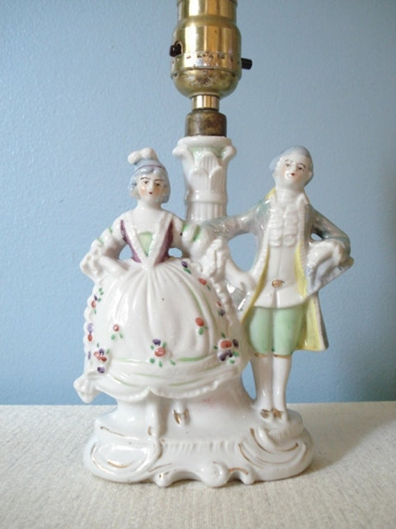 Vintage Victorian Couple Lamp Porcelain Lusterware Made By