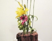 Aged repurposed wood vase with yellow and pink for the home