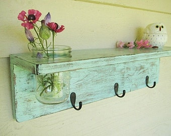 Rustic wood shelf, distressed shabby chic, Aqua Mason jar wall decor
