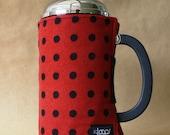 French Press Coffee Pot Cozy Red & Black Polka Dot Flannel