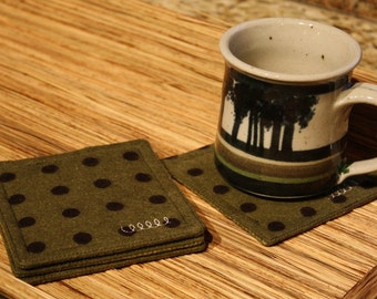 Coasters Set of 4 in Cotton Flannel Green and Black Print. Fabric Coasters