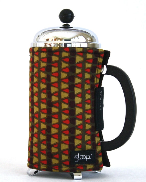 French Press Coffee Cozy- Red & Green