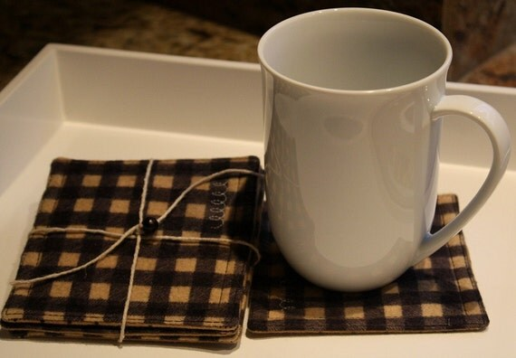 Fabric Coasters Set of 4 in Cotton Flannel Black and Tan Plaid