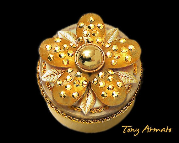 Golden Flower Trinket Box, For Treasures, Jewlelry, & Gifts Pave'd With Swarovski Crystals. One Of A Kind / Signed. With Free Gift Inside