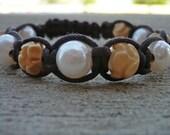 Pearl & Lotus Macrame Bracelet