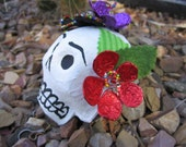 Day of the Dead Paper Mache Sugar Skull, Embellished with Flowers, Dia de los Muertos, FREE SHIPPING IN U.S.