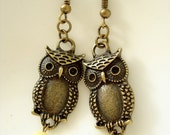 Owl with Yellow Beads Earrings - Antiqued Bronze DE177